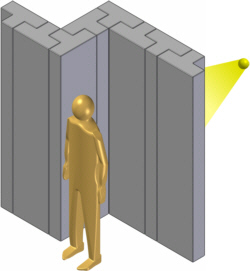 Sketch of a concrete X-ray shielding with a person in front